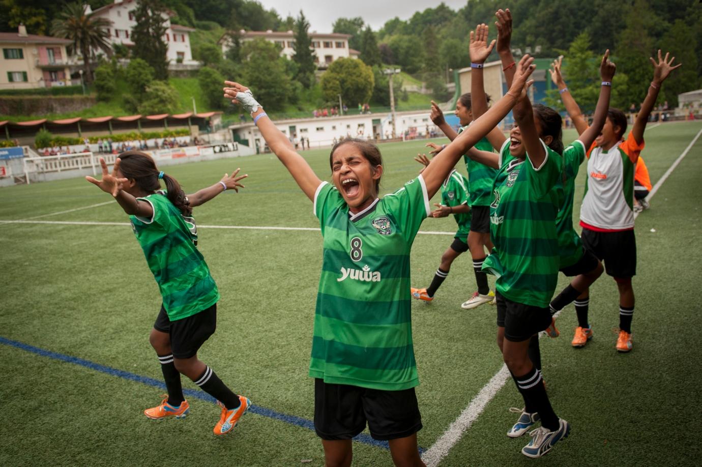 Yuwa team celebrates goal at the Donostia-San Sebastian